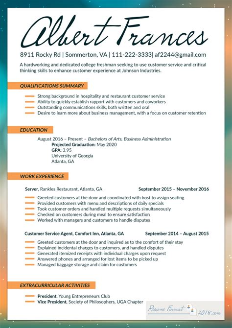 Of The Best Resumes by Make Use Of The Best Resume Format 2018 For Fresher