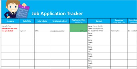 application tracker spreadsheet free