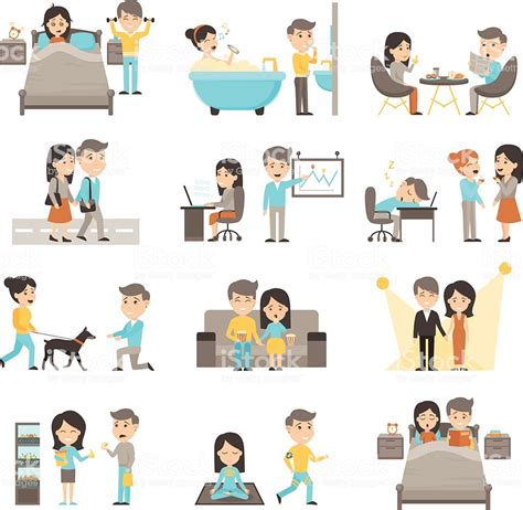 Daily Routine People Set Stock Vector Art & More Images Of