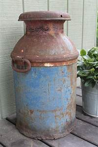 Vintage, Large, Dairymens, League, Blue, Rusty, Milk, Can, Milk, Jug, Farmhouse, Garden, Decor, Drop
