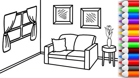 Coloring Living Room by How To Draw And Color Living Room Coloring Pages For