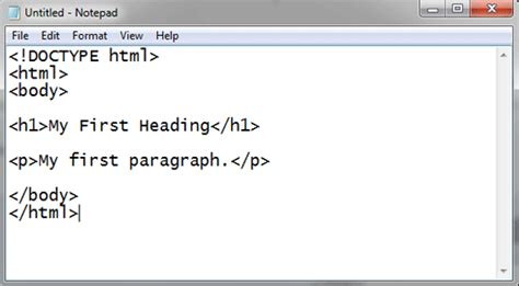 how to make a website with notepad