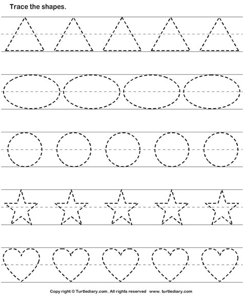 tracing basic shapes worksheet turtle diary 282 | tracing basic shapes