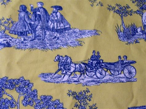 waverly horse carriage yellow blue toile fabric