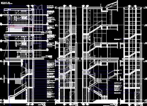 detail section metal stairs dwg section  autocad