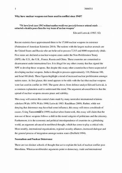 Nuclear Essay Weapons Conclusion Words States United