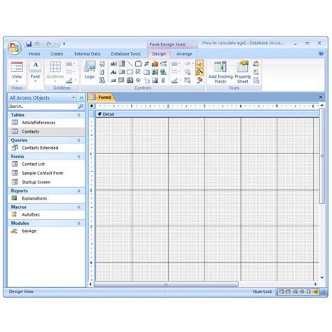 c form design tools microsoft access 2007 how to create a form manually in