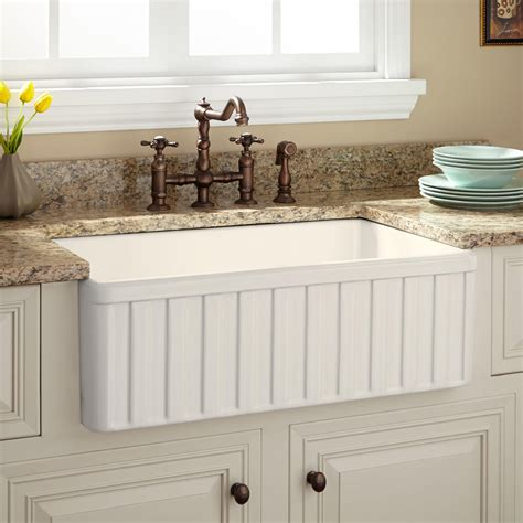 kitchen faucets for farmhouse sinks 30 quot oldham fireclay farmhouse sink fluted apron