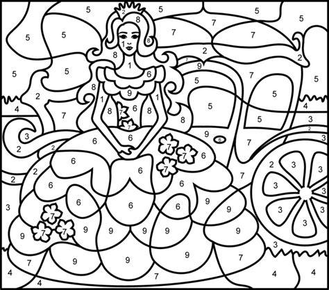 princesse printable color  number page hard fonts