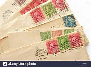 pile of old letters envelopes post stamps stock photo With old letter stamp