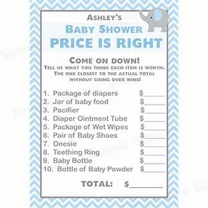 free printable price is right baby shower game template - 24 baby shower price is right game cards elephant blue