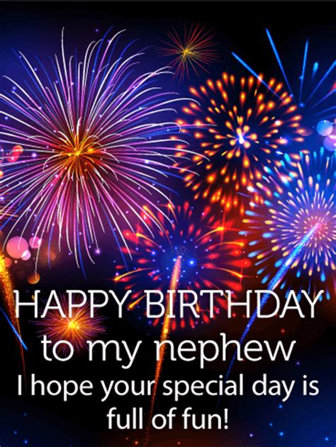 colorful birthday fireworks card  nephew birthday