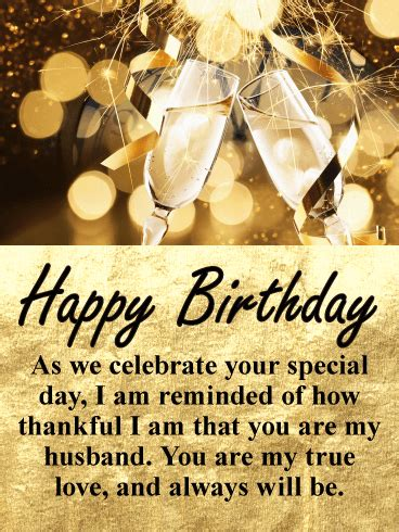 glittering gold happy birthday wishes card  husband