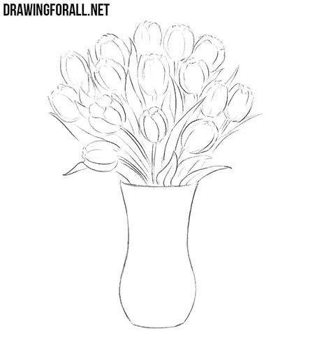 draw flowers   vase drawingforallnet