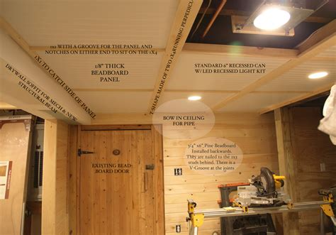 diy basement beadboard ceiling details with removable