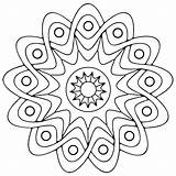 Coloring Geometric Pages Printable Adults Mandala Star Geometry sketch template