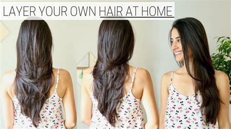 cut layer  hair  home diy long layers haircut youtube
