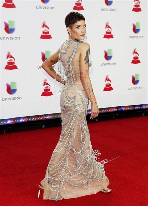 Halsey's 2018 Latin Grammy Awards Dress: Nude Pearl Dress ...