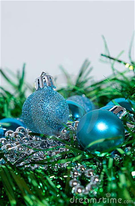 blue and green christmas decorations stock image image