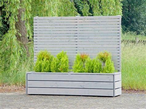 Garten Sichtschutz Mit Blumenkasten Kunststoff by Sichtschutz Mit Pflanzk 252 Bel Blumenkasten Holz Grau