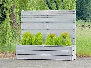 Sichtschutz mit pflanzkubel blumenkasten holz grau for Whirlpool garten mit polyrattan pflanzkübel anthrazit