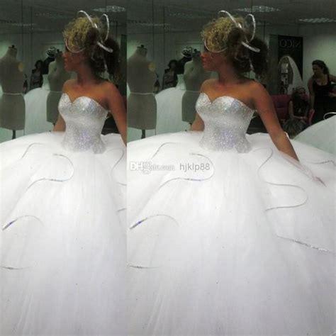 2014 bling bling big poofy wedding dresses custom made