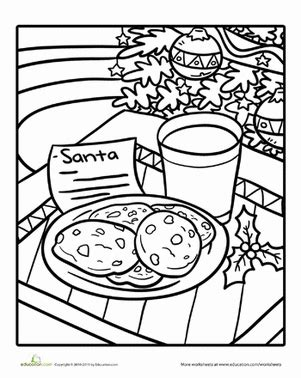 Thin icing slightly with water; Color Santa's Cookies | Worksheet | Education.com
