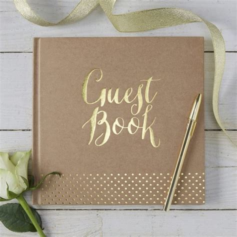 Wedding Guest Book by Kraft Gold Foil Wedding Guest Book Guest Books Pens