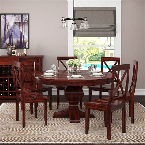 missouri solid wood  pedestal dining table  chairs
