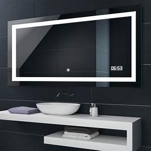 Miroir Étagère Salle De Bain : artforma illumination led miroir salle de bain l15 70x50cm interrupteur tactile horloge led ~ Melissatoandfro.com Idées de Décoration