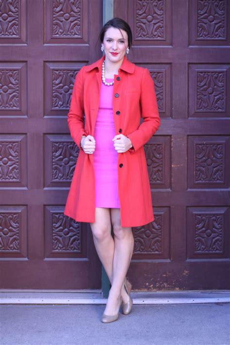 pink dress red lips bonjour blue
