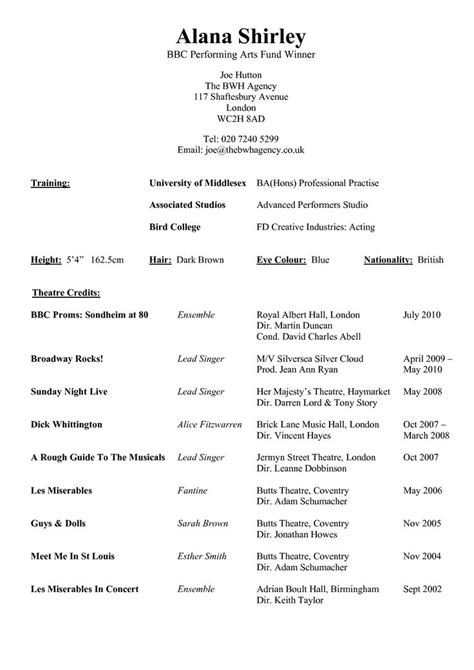 Performing Arts Resume by 38 Best Arts Resume Portfolio List Images On