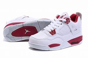 Nike Jordan 4 Retro Shoes For Kids White Red Outlet ...
