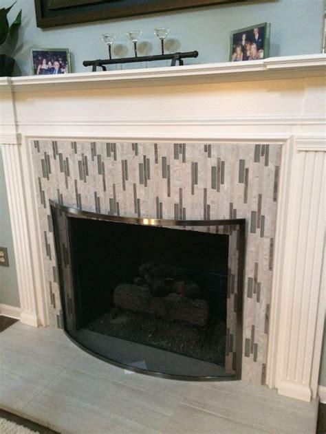 tiled fireplace  vertical mosaics tile ideas