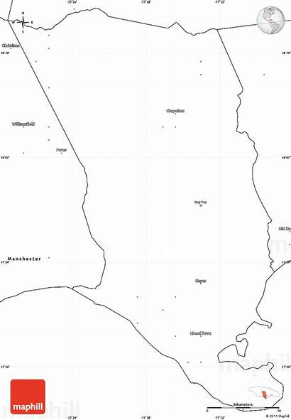 Clarendon Map Blank Jamaica Simple Maps East