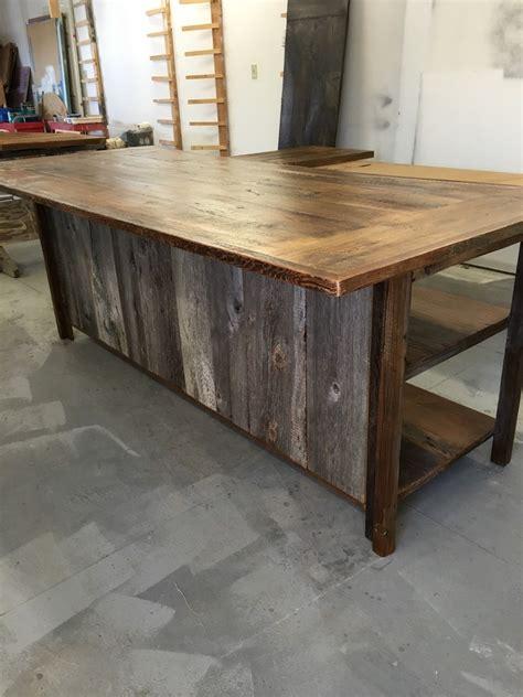 wooden kitchen island kitchen island rustic woodreclaimed wood shelvesbarn siding