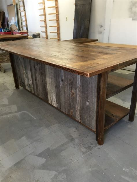 kitchen island rustic woodreclaimed wood shelvesbarn siding