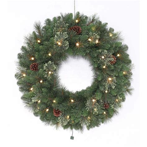 best outdoor battery or solar christmas garland lights shop living 30 in pre lit indoor outdoor battery operated green leland artificial