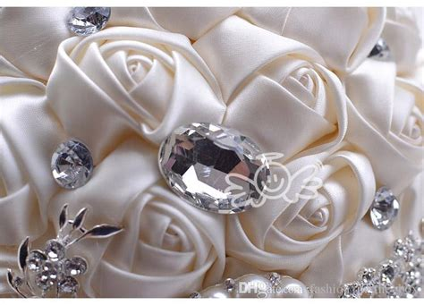 luxury handmade rose pearls diamonds bride holding
