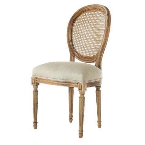 chaise medaillon en lin  chene massif louis maisons du monde