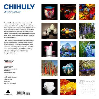 barnes and noble calendars chihuly 2015 wall calendar by dale chihuly 9781419713064