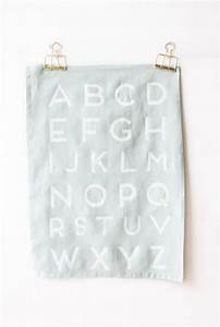 diy faux screen printed alphabet tea towels momtastic With screen printing letters