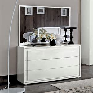 Bianca White High Gloss 3 Drawer Chest of Drawers : F D