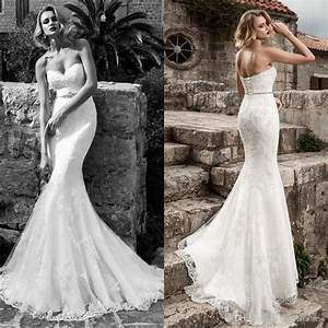 2017 Sexy Lace Mermaid Wedding Dresses Strapless Applique ...