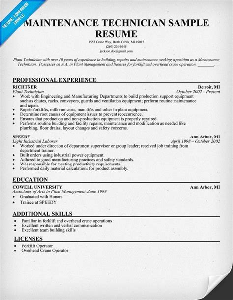 sle resume for maintenance worker best professional