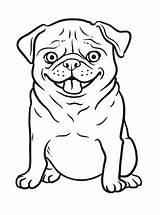 Pug Funny Coloring Dog Animal Cartoon Printable Head Tiger Happy Beagle sketch template