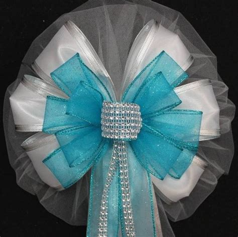 turquoise bling glitter  white wedding pew bows