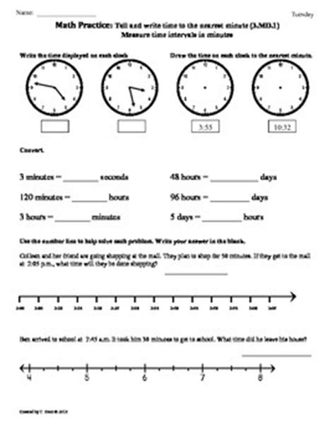 3 md 1 elapsed time part1 3rd grade common core math worksheets 4th 9 weeks
