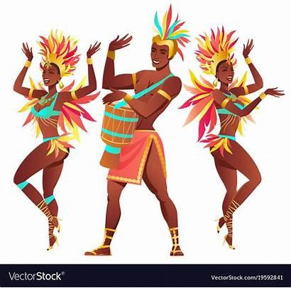 Samba Rio Dancers Janeiro Brazilian Vector Vectorstock