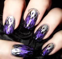 Black Purple and Silver Nail Designs